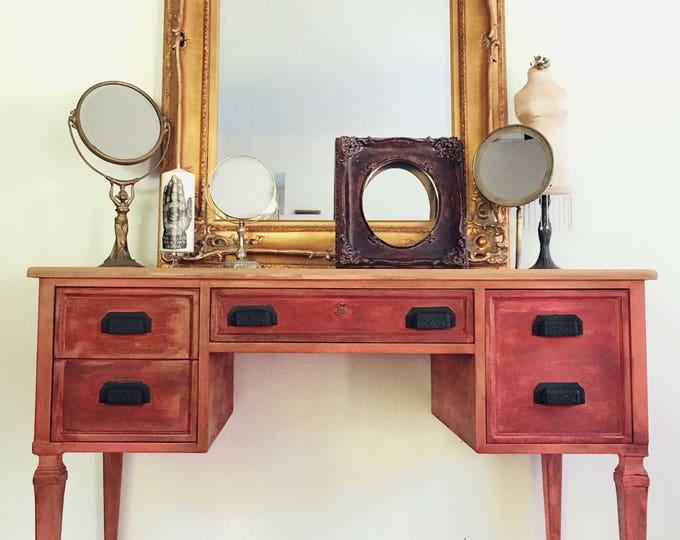 Vintage Vanity/ Desk by Kindel -finished on all sides -Hand Painted vibrant pink 4 Drawers high end