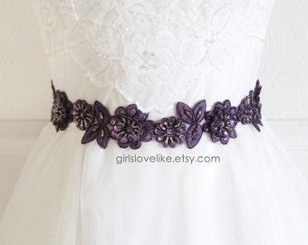 Plum, Dark Purple  Beaded Lace Sash Belt, Plum Bridal Sash, Bridesmaid Sash, Flower Girl Sash Belt.