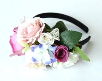 Marvelous Red Plum Flowers Headbands for Ms Miss Hair Accessories for Toddler Girls Flower Crown Wedding Flower Hair Piece Bridal Tiara BOHO