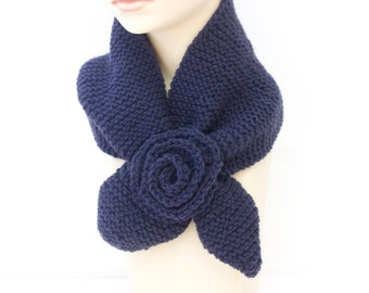 Knit Keyhole Scarf  Navy Blue,  Wool Self Tying Neck Warmer, Stay in Place Scarf, Knitted Accessory