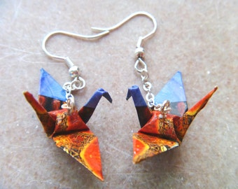 Unique Origami Crane Earrings –FREE SHIPPING– blue & orange colorful recycled-upcycled-reclaimed-renewed-repurposed paper #e709 marlisa