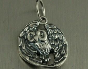 Sterling Silver Realistic Owl Charm--Wisdom Pendant--Wise Old Owl--Flying Bird Charm--Wings Spread--Birds of Prey--Hoot Owl--Barn Owl