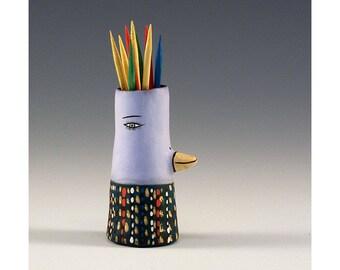 Paula - Keramik Vogel Zahnstocher halten Knospe Vase von Jenny Mendes
