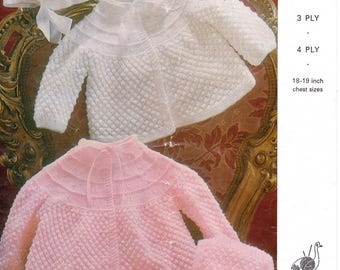 Baby Matinee Knitting Pattern Cardigan and Matinee Set Jacket Hat Knitting Pattern 18 - 19 inch  3 4 PLY PDF Instant Download