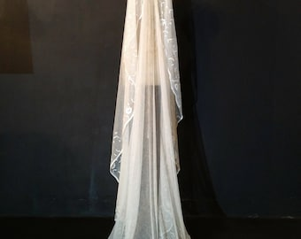 Chapel Length Antique Wedding Veil - JB11