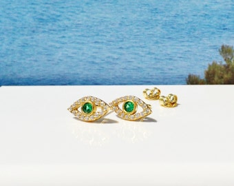 Evil Eye CZ Earrings in Beautiful Gold Plated 925 Sterling Silver and Dazzling Zirconia • Priced for a Pair