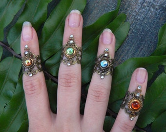 knuckle ring armor ring SET midi ring nail ring claw ring SET finger tip ring trending vampire goth victorian moon goddess pagan boho gypsy