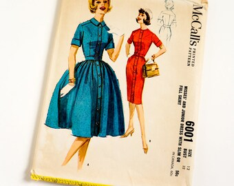Vintage 1960s Womens Size 12 Dress with Slim or Full Skirt McCalls Sewing Pattern 6001 UNCUT Complete / bust 32 waist 25