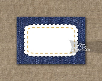 Denim Labels - Denim Gift Tags - Rustic Navy Blue Food Labels - Printable BBQ Tags - Country Western Nametags - Denim Favor Tags - DNM