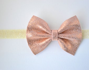 Rose Gold Metallic Leather Baby Headband for Newborn Child Little Girl Adult Adorable Photo Prop Spring Summer Beautiful Ivory Glitter Bow