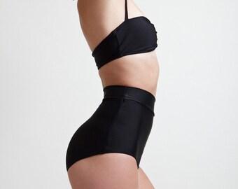 Caviar Black Super High Waisted Classic Pinup Style Bikini Bottoms