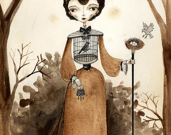 5x7 Victorian Lady with Bird Cage - Fairytale Art Print, Sepia Watercolor and Ink illustration