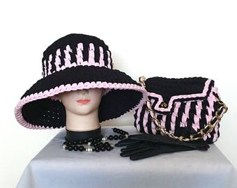 Set knitted hat with bag, crochet  bag with hat, t-shirt yarn bag and hat