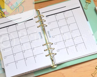 A5 monthly planner inserts undated on two pages, monthly vision board and mind dump instant download