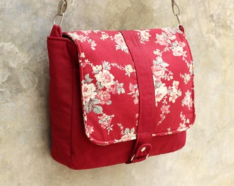 Clearance SALE Red Messenger bag with Floral flap, Canvas bag, Shoulder bag, Cross body, Travel, Detachable strap, Zipper Closure - Kiyomi