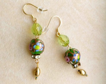 Cloisonné/ Enameled Earrings . Green Pink Gold Design, Gold Filled French Ear Wires, Golden Blossoms - Christmas Earrings by enchantedbeads