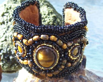 Native American made, Tiger Eye Beaded Cuff Bracelet