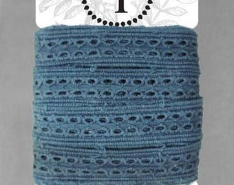 Naturally Dyed Organic Cotton Lace, 20mm wide - Indigo *sold by the 5m card*
