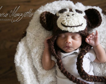 Crochet Monkey Hat - crochet animal hats for girls or boys - Curious George cartoon character hats