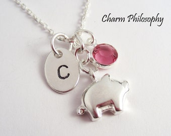 Pig Charm Necklace - Kids Jewelry - Piglet Necklace for Girls - Dainty 925 Sterling Silver Jewelry