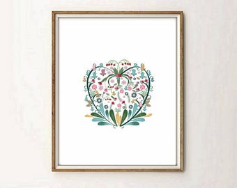 floral print, hearth print, floral hearth, flowers print, living room art, living room decor, nursery decor, modernist art, 5 SIZES INCLUDED