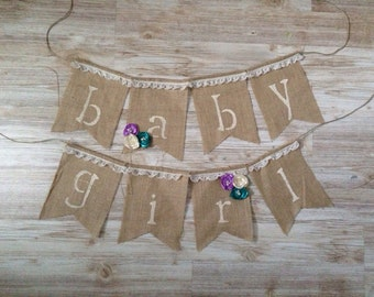 Shabby Chic Vintage Burlap Baby Girl Shower Banner Bunting