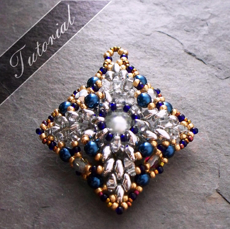 Beaded Diamond: Diamond Shaped Pendant Bead Pattern Super Duo And Rivoli Bead