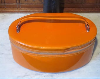 Dads Grads Sale Vintage Tangerine Vinyl Oval Train Case -Very Cool