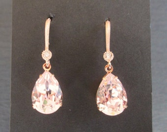 NEW Rose Gold Swarovski Earrings/ Rosaline Pink Bridesmaid Jewelry/ Wedding Jewelry/ Pink Crystal Earrings/Rose Gold Earrings/Blush Earrings