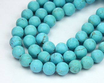 Matte Magnesite Beads, Light Turquoise Blue, 8mm Round - 15 inch Strand - eGR-MG396-8