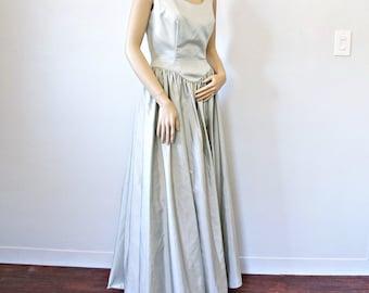 Maison Vintage robe de demoiselle d'honneur Bianchi bal Sage vert princesse taille 8