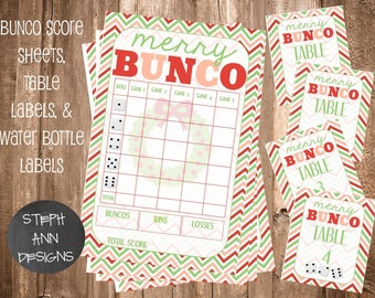 Bunco Set with Extra Table Numbers 1-12