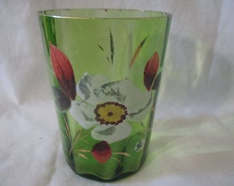 """Excellent APPLIED ENAMEL Floral Flower Green Tumbler 4"""" Late 1800's Home Decor Drinkware Glass"""