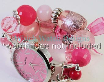 Pretty in Pink.. Chunky All Pink Interchangeable Beaded Watch Band