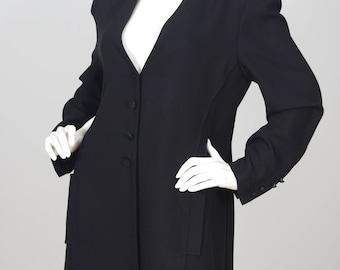 Sonia Rykiel 1990s Vintage Women's Chic Black Crepe Tuxedo Jacket Sz L