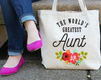 The World's Greatest Aunt XL Canvas Tote Bag