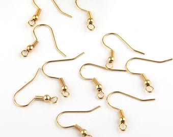 Gold Plated Earring Hooks, Fish Hooks, Earring Wires, 22k gold plated, 5 sets // GF-154