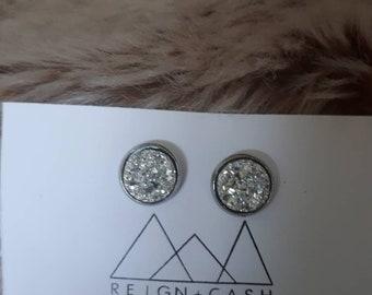 Silver faux druzy earrings 12mm.