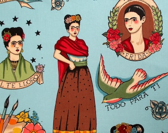 Fabric, Todo Para Ti Turquoise, Alexander Henry, Mexican Artist Frida Portrait, By The Yard