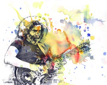 Grateful Dead Poster Print Jerry Garcia Art Poster from Original Watercolor Painting Jerry Garcia Painting Grateful Dead Gift Decor Wall Art