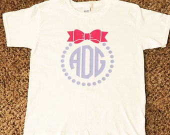 Kids Monogram Shirt / Bow Monogram Shirt / Monogram Shirt / kids bow /