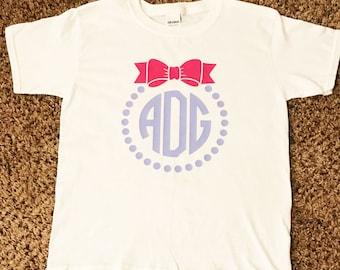 Kids Monogram Shirt Bow Monogram Shirt Monogram Shiry kids bow shirt
