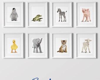 Animal Art prints, Baby zoo nursery modern minimalist nursery decor,- set of eight unframed prints - zoo animal, jungle animal childrens art