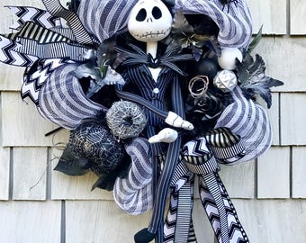 Nightmare Before Christmas Wreath for the Door, XL Jack Skellington Wreath, Black and White Stripes, Pumkins