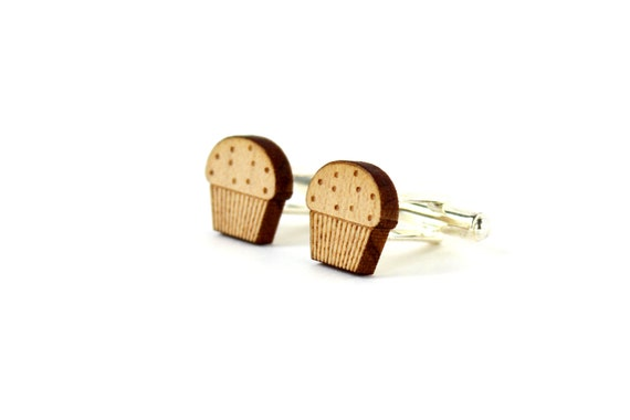 Muffin cufflinks - wooden wedding accessory - for the groom - best man - lasercut maple wood - men jewelry - graphic - kitsch