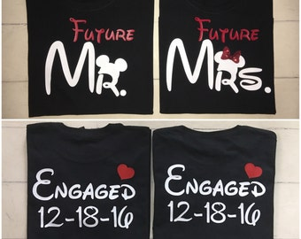 Disney inspired customized with date Couples Engagement Wedding Shirts Mr & Mrs Set Love Just Married Engaged