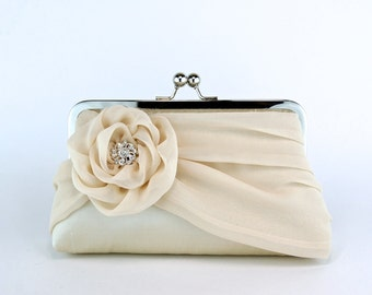 Bridal clutch, Silk Clutch In Champagne, Wedding clutch, Wedding purse, Bridesmaid clutch
