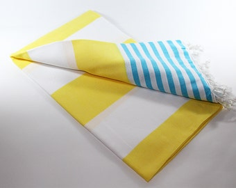 Ibiza   Yellow Beach Towel   Turquoise   Peshtemal Towel   Sarong   Beach Towel   Yellow Turkish Towel   Turkish Beach Towel   Beach Blanket