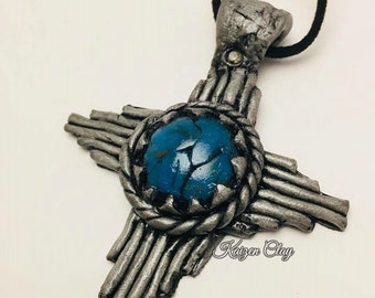 Polymer Clay Faux Silver and Turquoise Pendant Necklace