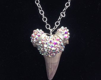 Large Shark Tooth Necklace, Bedazzled with with Swarovski Crystals